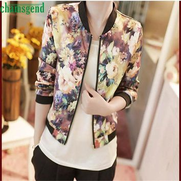 Wonderful 1PC Women Winter Autumn Stand Collar Long Sleeve Zipper Floral Printed Bomber Jacket Dec 23