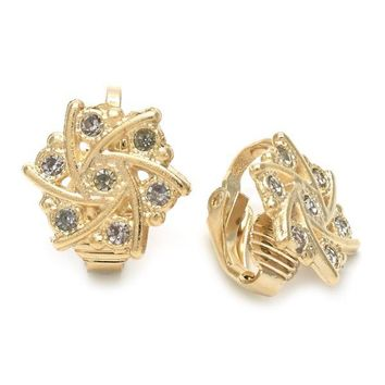 Gold Layered 02.09.0157 Leverback Earring, Flower Design, with White Cubic Zirconia, Polished Finish, Golden Tone