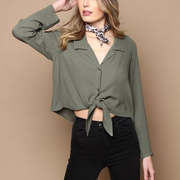 Allyn Tie Front Top - Olive