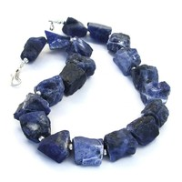 Blue Sodalite Handmade Necklace, Rough Nugget Sterling Gemstone Artisan Jewelry