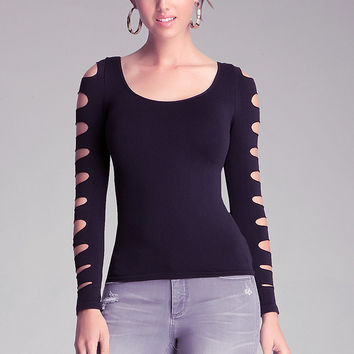 Long Slash Sleeve Top | bebe