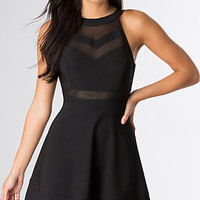 Short Sleeveless High Neck Black Dress