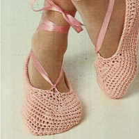 CROCHET SLIPPERS PATTERN Crochet Slippers Women Vintage 70s Crochet Ballet Slippers Pattern Crochet Yoga Shoes Pattern
