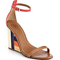 Tory Burch - Colorblock Wooden-Wedge Leather Sandals - Saks Fifth Avenue Mobile