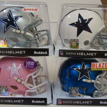 (4) DALLAS COWBOYS BLAZE SPEED PINK THROWBACK MINI HELMET RIDDELL NEW
