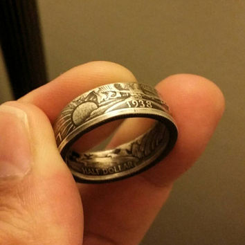 United states silver Walking liberty half dollar double sided ring