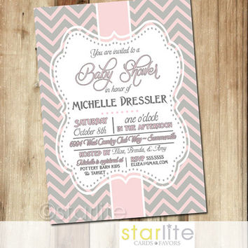Baby Shower Invitation   Pink Grey Chevron 5x7   Vintage Style Frame, Baby  Girl