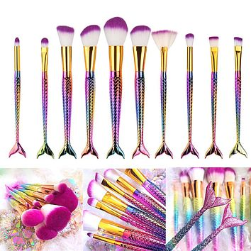 10PCS Mermaid Shape Makeup Brush Fish Scale Foundation Powder Eyeshadow Unicorn Makeup Brushes Contour Blending Cosmetic Brushes