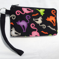 Pencil case, Pencil pouch, school supplies pouch, Coin Pouch Purse ,small make-up pouch, cellphone purse case - Mad Cat on Black