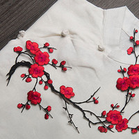 New Plum Blossom Flower Applique Clothing Embroidery Patch Fabric Sticker Iron On Sew On Patch Craft Sewing Repair Embroidered