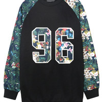 Floral 96 Print Cuff Sleeve Sweater