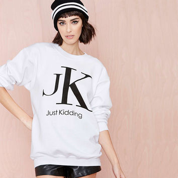 Casual Letter Printed Long Sleeve White Sweater