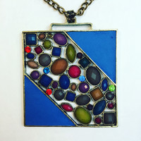 Boldest Bling Square Jeweled Pendant Necklace