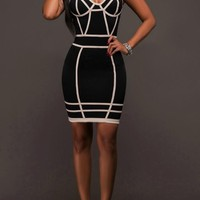 Black Geometric White Side Spaghetti Straps Bodycon NYE Midi Dress
