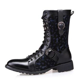 Square Cuban Heel 2015 New Fashion Skidproof Funky Appliques Warm Gothic Shoes Biker Safety Boots Men Black Half Knee High