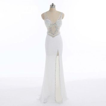 Sequins Beading Evening Dress V Neck Mermaid High Split Long Formal Prom Party Dress Sexy