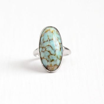 Vintage Sterling Silver Simulated Turquoise Cabochon Ring - 1940s Size 4 3/4 Oval Teal Green Blue Glass Stone Uncas Statement Jewelry