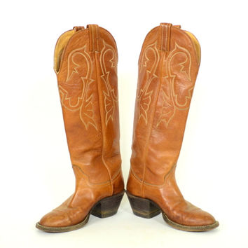 buttery soft KNEE HIGH country western STURDY leather boots, size 4 1/2 6 4.5