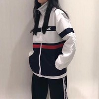 """FILA"" Women Casual Retro Multicolor Stitching Zip Cardigan Long Sleeve Windbreaker Coat"
