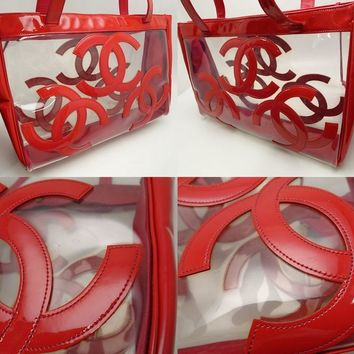 Auth CHANEL Triple Coco Tote Shoulder Bag Patent Vinyl Red Clear /59416 FREESHIP