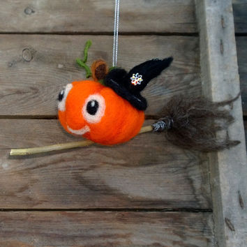 Pumpkin on a broom Halloween décor Felt pumpkin Whimsical Thanksgiving day ornament Hanging home décor Wool pumpkin witch hat Waldorf doll