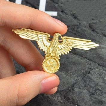 German Military Eagle Gold/Silver Color Brooches Badges Lapel Pin Brooches Cap Cockade Men's Jewelry