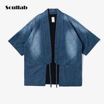 2018 new fashion 4 pattern styles spring men top shirts denim kimono hot chic ootd streetwear swag hip hop Kanye west clothing