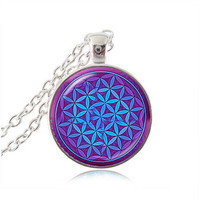 (LOA) Flower Of Life Sacred Geometry Pendant Necklace