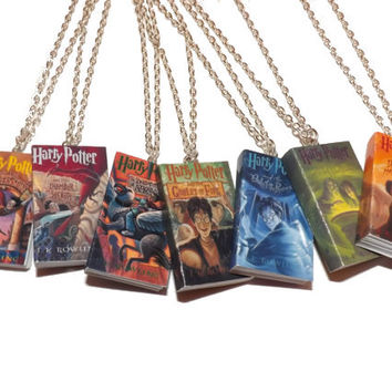 Harry Potter Necklace, Miniature Book Necklace, Harry Potter Jewelry, Deathly Hallows, Goblet of Fire, Harry Potter Jewelry, JK Rowling