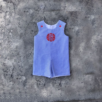 baby clothes, baby boy outfit, monogram Navy jon jon, red white and blue, navy seersucker infant boy clothes, baby romper, toddler summer