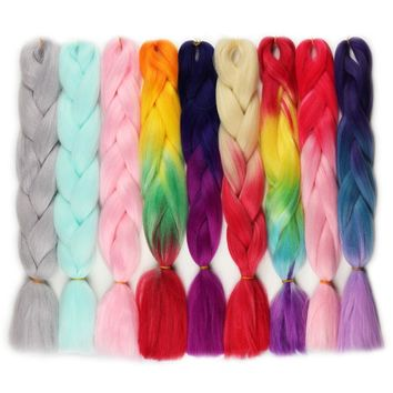 Rockstar Wigs 80color 60cm Synthetic Ombre Jumbo Crochet Braid Hair Extension kanekalon Crochet Braiding Hair Extensions