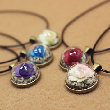 vintage style handmade dried flowers specimens necklace gift 137  number 1