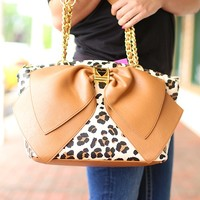 Bow-Nanza Handbag in Leopard by Betsey Johnson