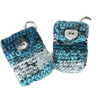 BFF Keychains - Minty Aqua Gray and Turquoise Keychain Pouches