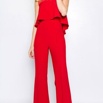 Have It Your Way Red Lace Sleeveless Scoop Neck Ruffle Flounce Loose Wide Flare Leg Jumpsuit