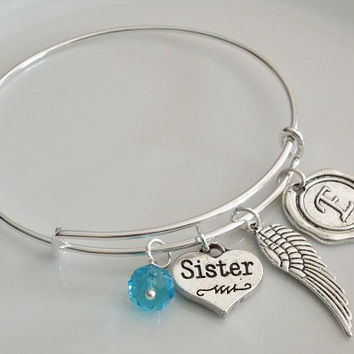 Sister bangle bracelet, Angel bangle bracelet, Birthstone charm, personalized bangle bracelet, Monogram initial name bracelet Gift