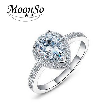Moonso engagement Women  Delicate AAA CZ Stone Ring  Elegant  Bling  Dropshipping  LR603