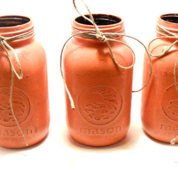 Orange Mason Jars , Rustic Jars, Quart size jars, Home decor, fall decor