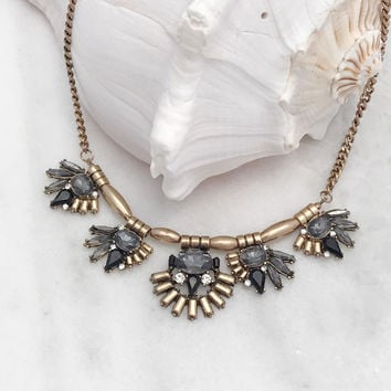 Statement Necklace Set with Black and Gray Stones - Gold Tone