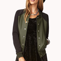Faux Leather Varsity Jacket | FOREVER 21 - 2000051149