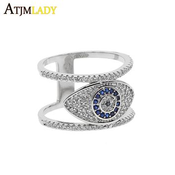 2018 Punk Design Knuckle Rings For Women Men silver Blue cz Eye ring Femme Fashion Jewellery double two ring Stacking eyes Ring