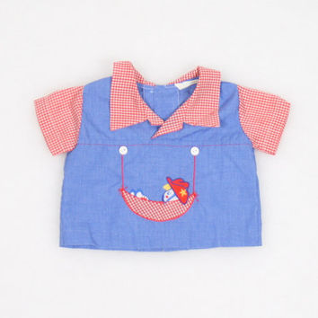 Vintage Baby Boy Shirt Baby Girl Blouse Red White Blue Cowboy Cowgirl Top Embroidered Gingham Plaid Blouse Newbown 3 months 3M Boys Girls