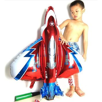 Giant 85*90cm fighter plane balloons inflatable foil helium cartoon plane ballons for baby boy shower kids birthday party decor