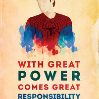 """Spider-man: """"With Great Power Comes Great Responsibility"""" 9 x 14 Print"""
