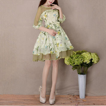 floral dress lace dress tulle dress wedding dress party dress women dress Lolita dress Long sleeve dress---WD170