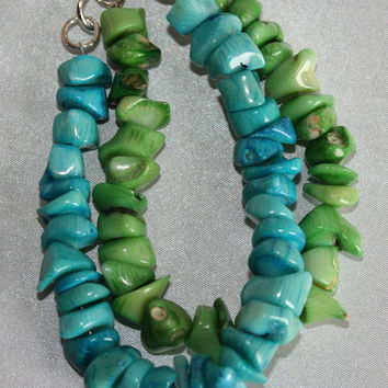 Chunky Dyed Blue and Green Bamboo Coral Statement Necklace, Big Bold Coral Necklace and Bracelet Set, Coral Beach Wedding Necklace Set