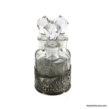 1890s Triple Perfume Bottle Set in Sterling Repousse Stand, Victorian Scent Bottles