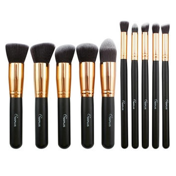 New 10 Pcs rofessional Different Synthetic Kit Makeup brushes Black/Pink /Blue/Purple [8096938119]