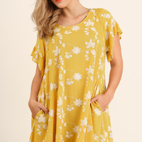 Floral Print Dress - Honey