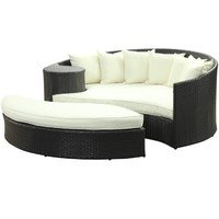LexMod Taiji Outdoor Rattan Daybed with Ottoman, Espresso with White Cushions